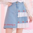 Lace Panel Embroidered Denim Mini Skirt 1596