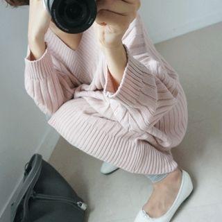 V-Neck Ribbed Knit Dress 1053708791