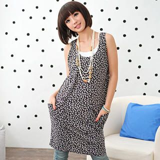 Picture of 59 Seconds Cat Print Drape-Pocket Sleeveless Dress 1022729456 (59 Seconds Tees, Womens Tees, Hong Kong Tees, Causal Tops, Print / Logo Shirts)