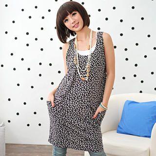 Picture of 59 Seconds Cat Print Drape-Pocket Sleeveless Dress 1022729456 (59 Seconds Tees, Womens Tees, Hong Kong Tees, Causal Tops, Print / Logo Shirts)