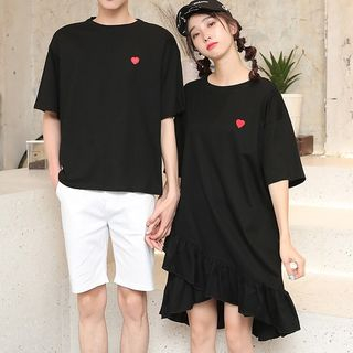Short-sleeve | Embroider | T-Shirt | Couple | Ruffle | Heart | Short | Dress