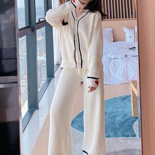 Cardigan   Lounge   Pajama   White   Pant   Size   One   Set