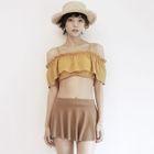 Set: Ruffle Trim Tankini + Swim Skirt 1596