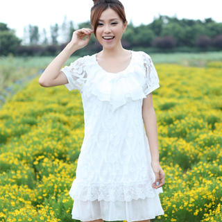 """Buy 19th Street Pleated-Neckline """"Bow"""" Lace Dress 1023030818"""