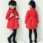 Kids Mandarin Collar Floral Embroidered Lace Dress 1596