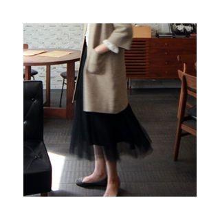 Band-Waist Long Tulle Skirt 1053921390