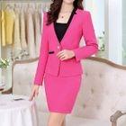 Set: Contrast-Color Blazer + Top + Pencil Skirt 1596