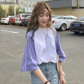 Image of Contrast Color Elbow-Sleeve T-Shirt