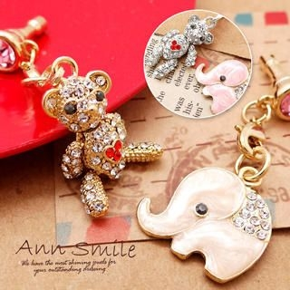 Set of 2: Rhinestone Bear + Rhinestone Elephant Earphone Plug