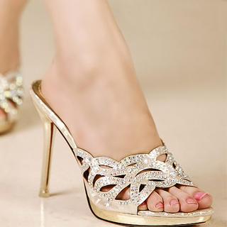 Buy Kvoll Rhinestone Cutout Sandals 1023009818