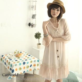 Picture of CatWorld Tie-Neck Ruffle-Hem Dress 1022580493 (CatWorld Dresses, Womens Dresses, Taiwan Dresses)