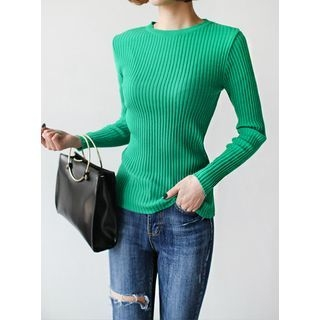 Round-Neck Ribbed Knit Top 1057322364