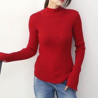 Mock-Neck Slit-Sleeve Knit Top 1065286960