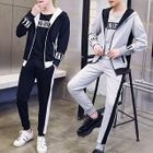 Set: Short-Sleeve T-Shirt + Hooded Zip-Up Jacket + Sweatpants 1596