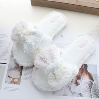 Image of Chenille Bow Home Slippers