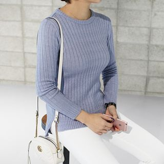 Round-Neck Ribbed Knit Top 1055289325