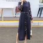 Set: Floral Print Long-Sleeve Midi Chiffon Dress + Slit Front Knitted Pinafore Dress 1596