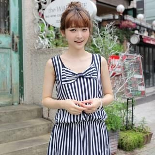 Buy CLICK Sleeveless Drop-Waist Striped Dress 1022970517