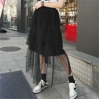Band-Waist Long Tulle Skirt 1058234678