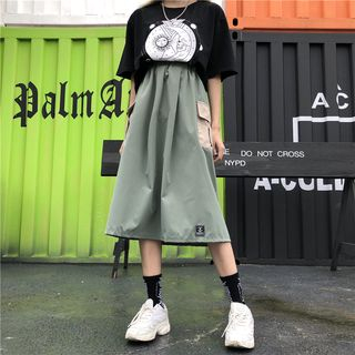 Image of A-Line Color Block Midi Cargo Skirt