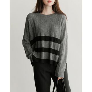 Contrast-Trim Ribbed Knit Top 1055606491