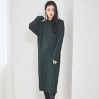 Crew-Neck Ribbed Long Sweater Dress 1596