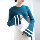 Contrast Trim Bell Sleeve Ribbed Sweater 1596