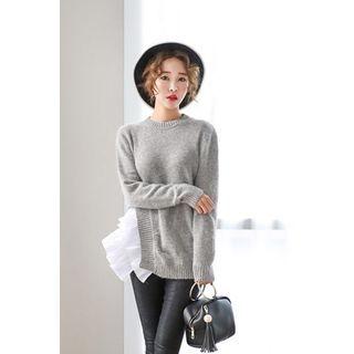 Frilled-Trim Wool Blend Knit Top 1053688535