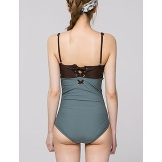 Color-Block Eyelet-Lace Swimsuit 1060419906