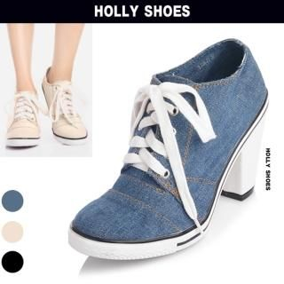 Picture of Holly Shoes Lace-Up Denim Sneakers Detail Pumps 1023048931 (Sneakers, Holly Shoes Shoes, Korea Shoes, Womens Shoes, Womens Sneakers)