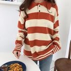 Stripe Long-Sleeve Collared Top 1596