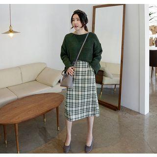 Band-Waist Plaid Long Skirt 1061868464