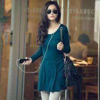 Hooded Long Sleeve Dress AquaMarine Blue  One Size