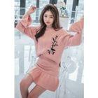 Set: Flower-Embroidered Knit Top + Ruffle-Hem Mini Skirt 1596