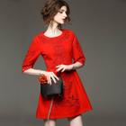 Elbow-Sleeve Paneled Dress 1596