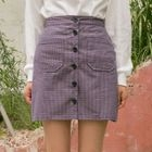 Button-Front Plaid Mini Skirt 1596