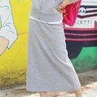 Band-Waist Slit-Back Long Skirt 1596