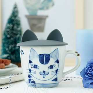 Cat Hand-Painted Ceramic Mug with Silicone Cat-Ear Cup Lid 1060345555