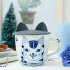 Cat Hand-Painted Ceramic Mug with Silicone Cat-Ear Cup Lid 1596
