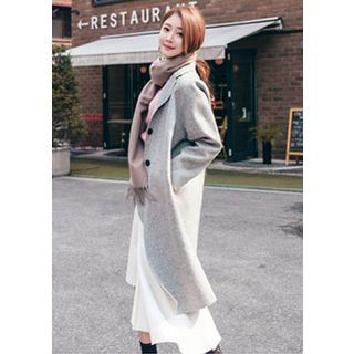 Notched-Lapel Buttoned Wool Blend Long Coat 1054112623