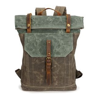 Genuine Leather Panel Canvas Backpack