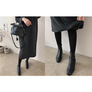 Round-Neck Fleece-Lined Midi Dress 1063956762