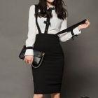 Color Block Blouse / Suspender Pencil Skirt 1596