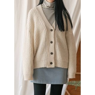 V-Neck Ribbed Wool Blend Cardigan 1063957288