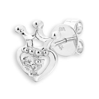 18K White Gold Diamond Solitaire Heart With Crown Single Stud Earring (0.08ct), Women Jewelry Gift - United states