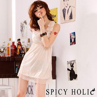 Buy SPICY HOLIC Polka Dot Sundress Beige – One Size 1022787786