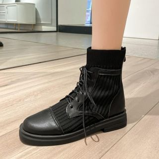 Knit Panel Lace-up Short Boots