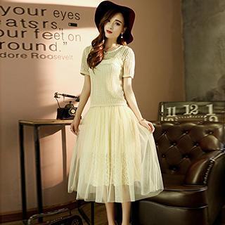 Short-Sleeve Paneled Cutout Dress