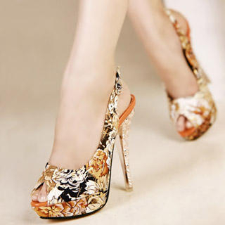 Buy Kvoll Peep-Toe Floral Platform Stiletto 1022979445