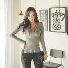 V-Neck Metallic-Button Ribbed T-Shirt 1596